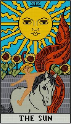 The Sun Tarot Card cross stitch pattern PDF Major by Whoopicat