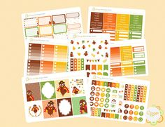 Thanksgiving Weekly Kit Turkey Weekly Kit November Weekly Erin Condren Life Planner, Planner Stickers, November, Turkey, Thanksgiving, Kit, Holiday Decor, Etsy, Thanksgiving Tree