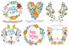 """Vector Set """"Floral wreathes"""". Gorgeous floral elements for background! Six awesome floral wreathes!! Click on the preview to see what you get :) ZIP includes: 6 EPS10 files (+ JPGs) + 1 PNG"""