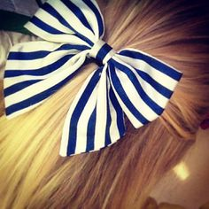 navy blue & white striped bow