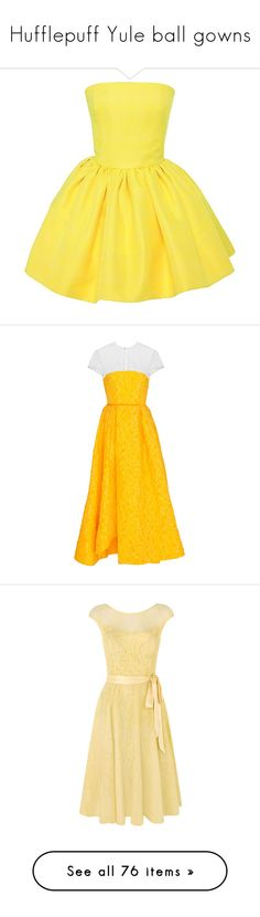 """""""Hufflepuff Yule ball gowns"""" by weeby ❤ liked on Polyvore featuring fans, dresses, vestidos, yellow, yellow silk dress, short yellow cocktail dress, silk dress, bustier dress, short silk dress and orange strapless dress"""