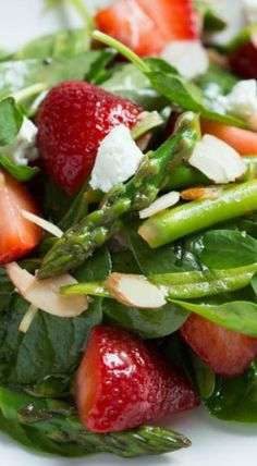 Strawberry, Spinach and Asparagus Salad