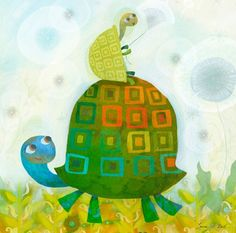 """""""Turtle Wishes"""" Wall Decor for Kids by Laura Huliska Beith for Oopsy Daisy size 18x18"""