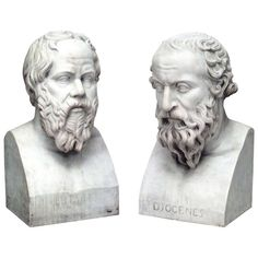 Pair of 19th Century Marble Busts Portraying Classical Philosophers   From a unique collection of antique and modern sculptures at http://www.1stdibs.com/furniture/more-furniture-collectibles/sculptures/