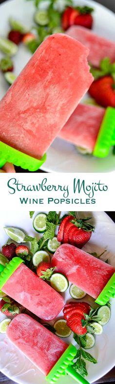 Beat the summer heat with these strawberry mojito wine popsicles. They are loaded with sweet strawberries, a hint of mint and a kick of fruity white wine.