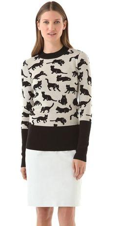 Kitty Print Sweater  crazy cat lady :)
