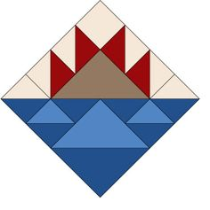 """12"""" Baskets Quilt Block Pattern - inspiration for my barn quilt but on mine the bottom is light and dark green, the top lg triangle is yellow and the smalls red with the outside blue like the sky.  Turned out cool."""