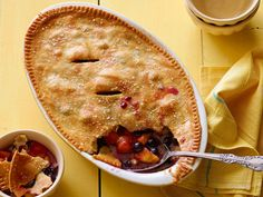 Punctuate the honeyed sweetness of peach cobbler with a burst of blueberry.