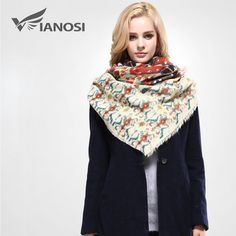 [VIANOSI]  Women Scarf Winter Warm Bandana Luxury Shawls and Scarves Brand Square Scarf Cotton Soft Wrap Woman VA097