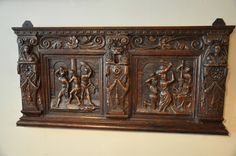A WONDERFUL CARVED 16TH CENTURY OAK COFFER FRONT. SOUTH GERMAN. CIRCA 1560.-THE TWO PANELLED FRONT CARVED WITH THE FLAGELLATION OF CHRIST AND THE CROWNING OF THE THORNS.