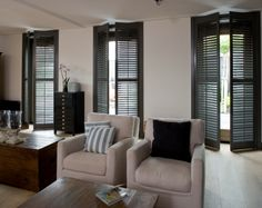 Black plantation shutters... | Georgeous Interior Decor and Awesome ...