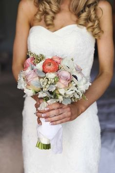 Colourful bridal bouquet by Merrin Grace Floral Design // Featured in 'Romance at Roberts' on the Modern Wedding blog, photography by Leia Fae Photography #flowers #wedding #bouquet