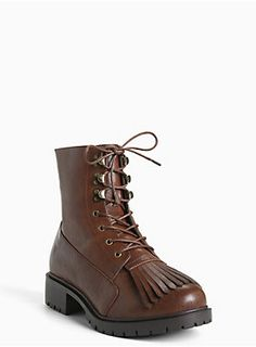 """<div><div>Walk this way, these combat boots will guide you. The chocolate faux leather combat style has major attitude with a lace up front, while a tassel toe lends a throwback touch. Lug sole shows you mean business.</div></div><div><ul><li style=""""LIST-STYLE-POSITION: outside !important; LIST-STYLE-TYPE: disc !important"""">1.5"""" heel with 0.5"""" lug sole</li><li style=""""LIST-STYLE-POSITION: outside !important; LIST-STYLE-TYPE: disc !important"""">Man-made materials</li><li…"""