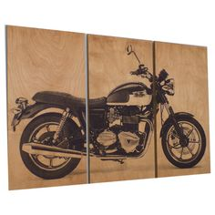 Vintage Triumph Motorcycle Screen Print Wood Painting Wall Art on Stained Solid BIRCH 3/4 inch thick  Print includes (3) approx. 12 by 24 rectangular panels Panels are approx. 3/4 thick Natural Birch wood panels All panels were stained with golden oak stain, then printed with black ink.  Available with 2 Coats of Polyurethane that will give it a nice shine and protect the artwork FEEL FREE TO CHOOSE A DIFFERENT COLOR COMBINATION FOR THIS DESIGN. SEND ME A MESAGE IN NOTES TO SELLER AT…