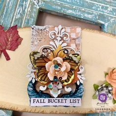 Project from Brand Ambassador Shannon @shannonhelwig Click to check out our products and find a retailer near you! #primamarketinginc #createwithprima #PrimaMarketing #Prima #PrimaFlowers #scrapbook #mixedmedia #art #embellishment #flowers #Finnabair #Finnabairmixedmedia Finnabair Mixed Media, Mixed Media Cards, Prima Marketing, Scrapbook Embellishments, Monarch Butterfly, Stencils, Stamp, Brand Ambassador, Fall