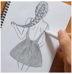 Easy Pencil Drawings, Pencil Sketches Of Girls, Girl Drawing Sketches, Girly Drawings, Art Drawings For Kids, Art Drawings Sketches Simple, Drawing Ideas, Drawing Step, How To Draw Sketches