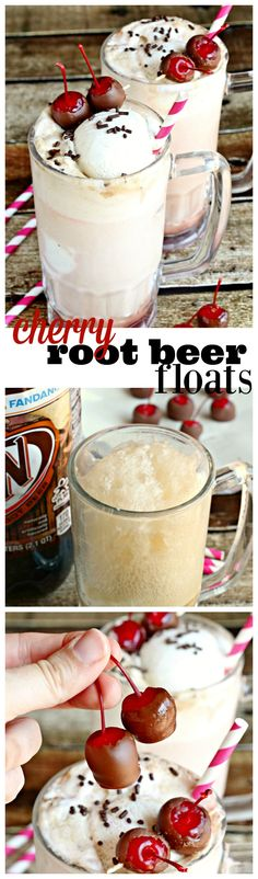 A classic A&W® Root Beer float topped with chocolate-covered cherries.