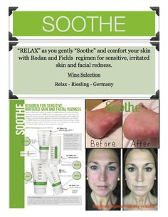Rodan and Fields Sooth Wine Party Flyer - a great way to pair wine w/ each regimen to make BBL more fun!!