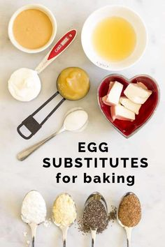 Whether you have an egg allergy, are vegan or avoid eggs for health reasons, this Baking Substitutes for Eggs Guide will help provide an egg free solution. Eggless Recipes, Healthy Cookie Recipes, Allergy Free Recipes, Healthy Meals For Kids, Vegan Desserts, Raw Food Recipes, Healthy Eating, Healthy Food, Dessert Recipes