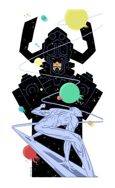 Galactus and Silver Surfer by Andrew-Ross-MacLean on DeviantArt Comic Book Artists, Comic Books Art, Comic Art, Marvel Comics, Marvel Art, Ms Marvel, Captain Marvel, Silver Surfer, Black Panther Movie Poster