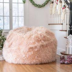 Fluffy Bean Bag Chair, Huge Bean Bag, Pink Bean Bag, Faux Fur Bean Bag, Deco Studio, Cute Room Decor, Pink Room, Aesthetic Bedroom, Bedroom Decor
