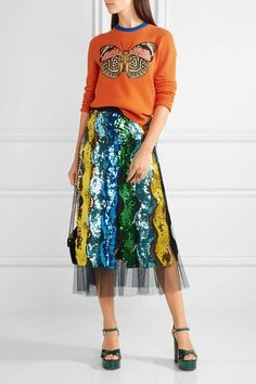 Gucci - Pleated Sequined Tulle Midi Skirt - Blue - IT36
