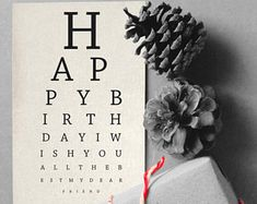 Printable Happy Birthday Card   eye chart   Instant download Card   Print yourself   eye chart Birthday Wish - for a dear friend