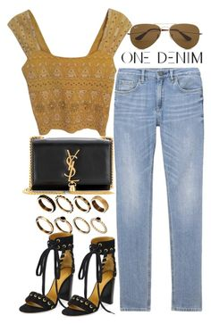 """""""Styling One Denim"""" by nikka-phillips ❤ liked on Polyvore featuring Yves Saint Laurent, ASOS, Free People, Chloé and Ray-Ban"""
