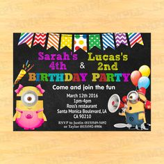 29 best duo birthday invitations images on pinterest combined minion double birthday invitation for boy and girl by partyinstant filmwisefo