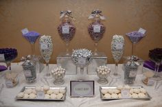 Purple and White Candy Buffet