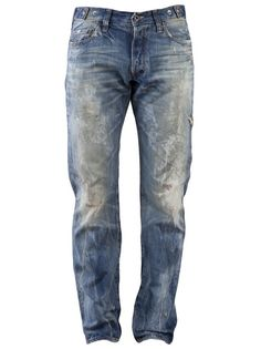 Barracuda straight leg jean in light wash rust from PRPS Japan. This  distressed and painted af725706582