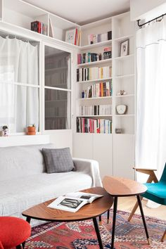 living room with glass partition - divider
