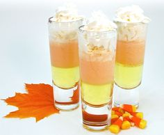 Candy Corn Shooters. Saving this one for Halloween. ;)