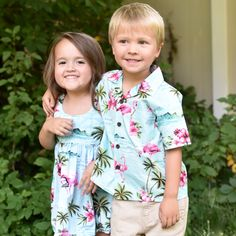 Blue Flamingo Boy's Aloha Shirt and Girl's Bungee Dress.  Find it at www.makaigirls.com!