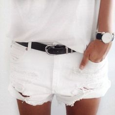 Go ahead....search: white denim distressed shorts. Not too much comes up. Rare? Not on trend? I love them!! (These fit her funny though).