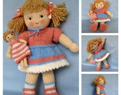 knitted dolls KNITTING PATTERN contains instructions for Lulu and her tiny doll. Lulus dress and panties are removable but her shoes are not. SIZE: Lulu - 30 cm in). Knitted Doll Patterns, Knitted Dolls, Baby Knitting Patterns, Crochet Dolls, Knitted Bags, Sewing Patterns, Double Knitting, Loom Knitting, Free Knitting