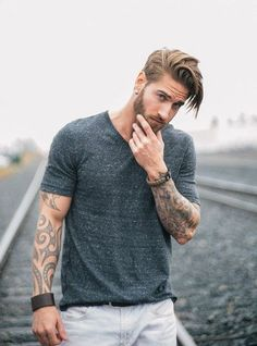 Medium Length Side Part And Connected Beard