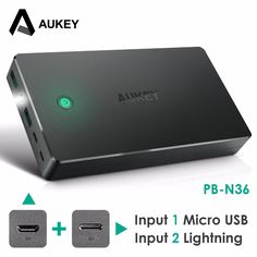 check price aukey power bank dual usb 20000mah portable external battery pack with led light #phone #charging #station