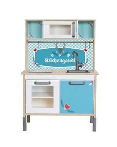 """IKEA DUKTIG HACK: Dies ist das perfekte Kinderküchen Makeover für Alpenfans. Das Limmaland Folienset """"Küchengaudi"""" gibt es auch noch in rosa! Pimp deine Spielküche! www.limmaland.com"""