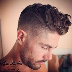 Mens Hair, curly pompadour