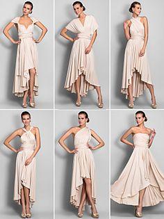 Homecoming Convertible Dress Asymmetrical Jersey Sheath/Column Dress (633752)