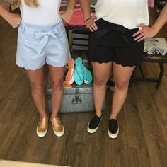 Scallop shorts are so in trend this year! What's not to love! Light Blue, black, and many other colors! Check out these cute touch of bling sneakers too!!  #apricotlaneaugusta #shopALB #augustamall #scallops #shorts