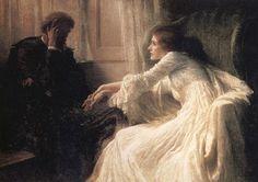 La Confesión // by Frank Dicksee (U.K., 1853-1928)