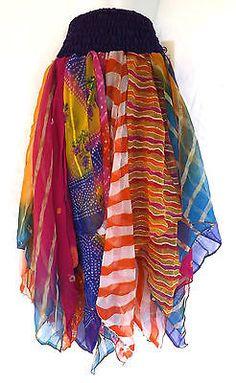 Gypsy Fairy Dance Costume Vintage Chiffon Handkerchief Scarf Skirt Multi-Colored