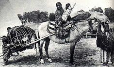 Native American children on horse with travois