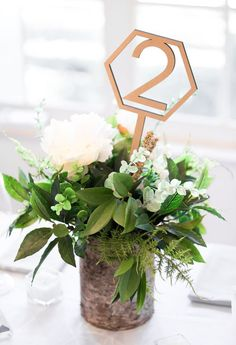 Find Your Wedding Style - Geometric Luxe inspired table numbers perfect for a boho wedding! // Geometric Table Numbers on Sticks by www.ZCreateDesign.com or Shop on Etsy by Clicking Pin