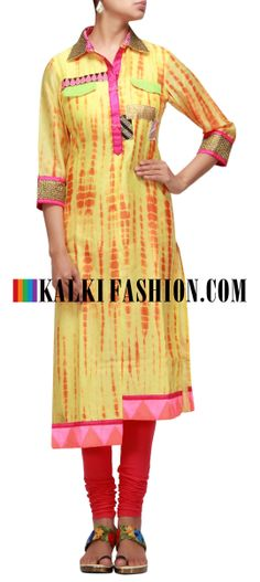 Buy Online from the link below. We ship worldwide (Free Shipping over US$100) http://www.kalkifashion.com/yellow-kurti-with-batik-print-and-uneven-hem.html Yellow kurti with batik print and uneven hem