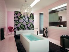 azulejos lisos tonos rosa flores