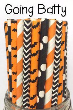 50 Orange and Black Halloween Chevron Paper Straws