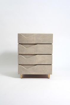 Henry Bedside Table in Cream Shagreen and Bronze-Patina Brass by R&Y Augousti - Sculptural; the Henry bedside Table is functional with it's four beautifully detailed drawers all - Furniture For You, Home Decor Furniture, Luxury Furniture, Cool Furniture, Furniture Design, Antique Furniture, Cabinet Furniture, Rustic Furniture, Furniture Handles